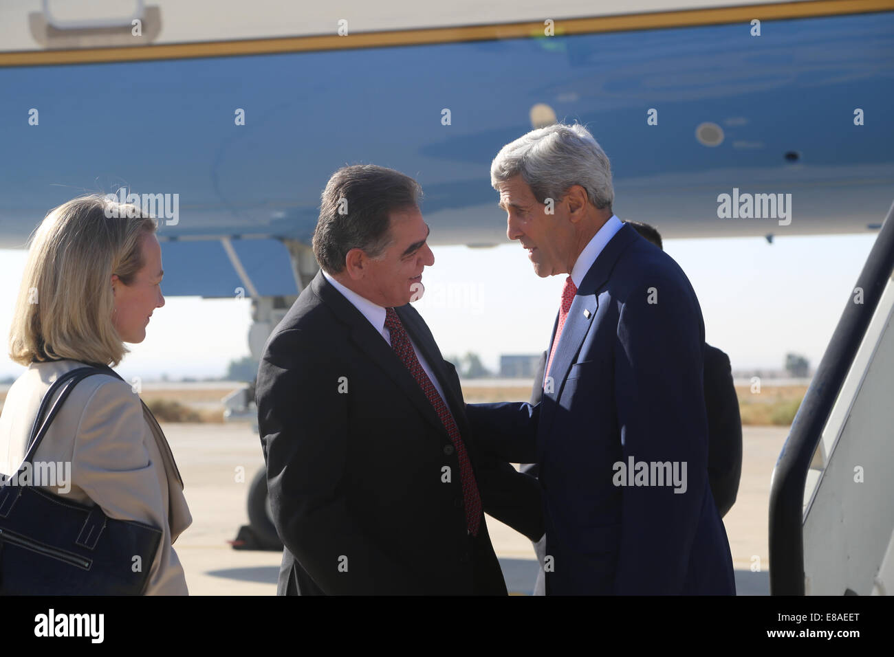 Ambassador Ibrahim Awawdeh from the Jordanian Ministry of Foreign Affairs and U.S. Ambassador to Jordan Alice G. - Stock Image