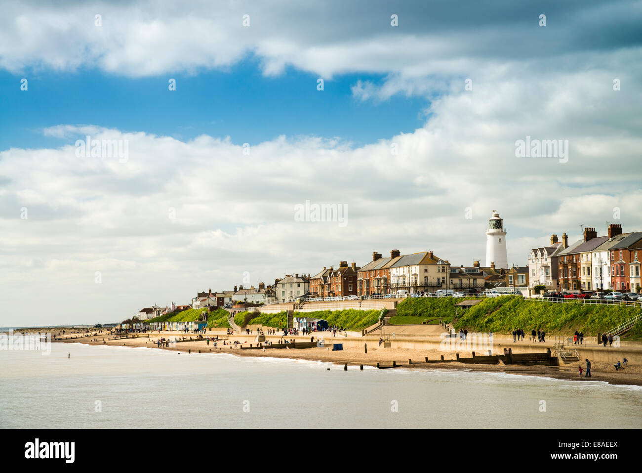 A view from the pier towards Southwold, Suffolk, UK - Stock Image