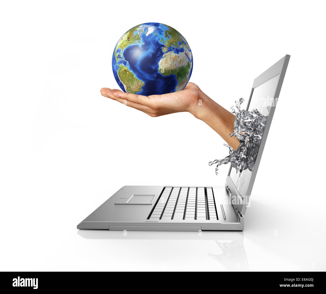 Earth globe on hand palm, coming out from a laptop computer, forming a liquid splash on the screen. Isolated on - Stock Image