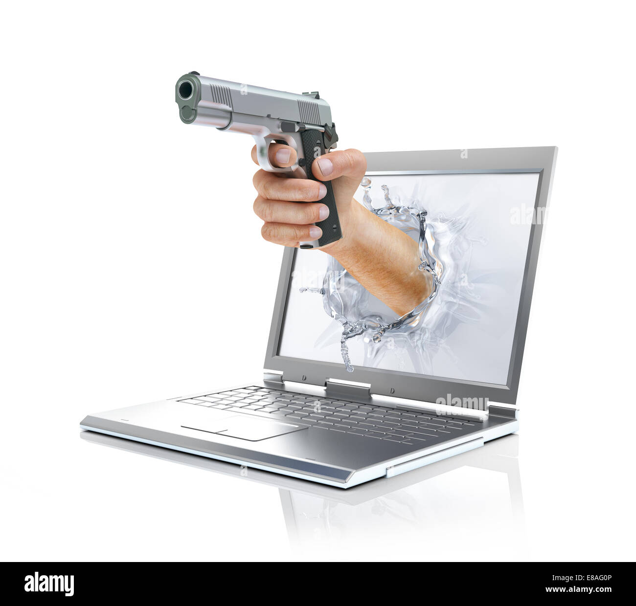 Man's hand holding gun, coming out from laptop screen forming a splash from liquid crystals. On white background, - Stock Image