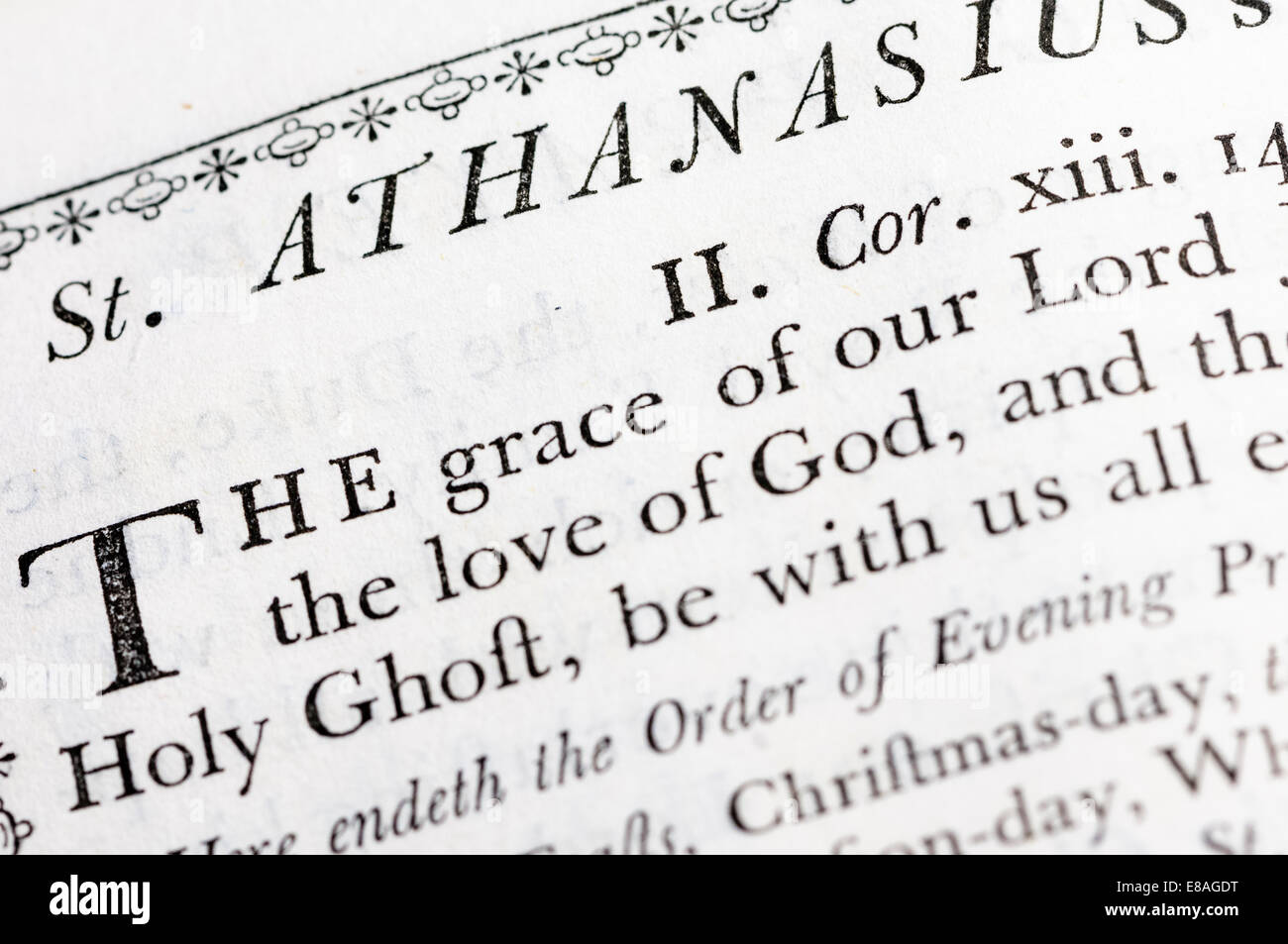 St. Athanasius's Creed in a very old version of the Book of Common Prayer (CofE) - Stock Image