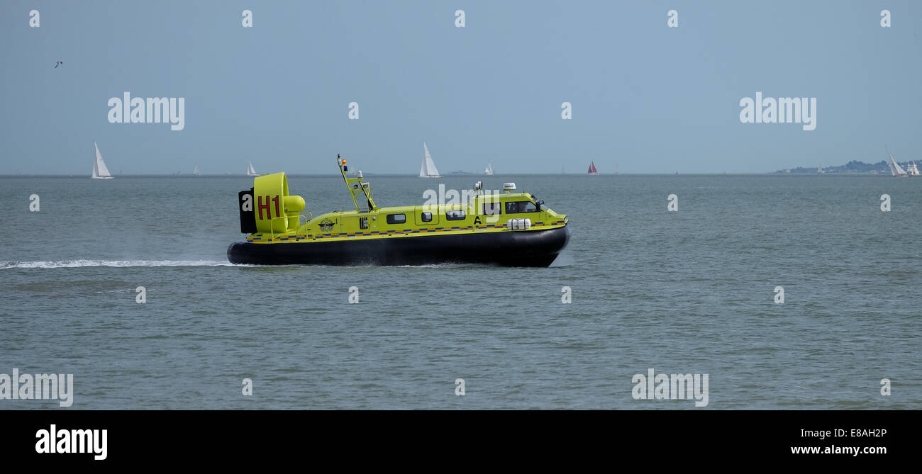 Auckland Airport  marine emergency hovercraft testing in Southampton water England - Stock Image