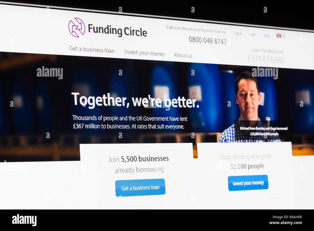 Screenshot of the funding circle homepage - Stock Image