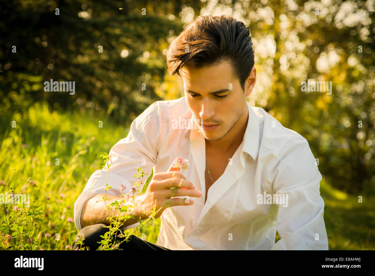 Nostalgic young man dreaming or reminiscing in the park as he kneels in green grass touching a flower with a look - Stock Image
