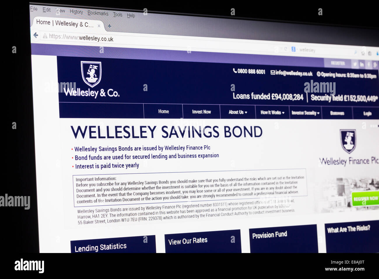 Screenshot of the Wellesley & co homepage - Stock Image