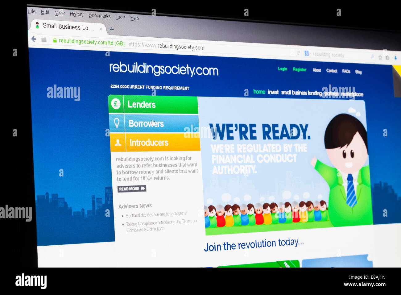Screenshot of the rebuildingsociety homepage - Stock Image