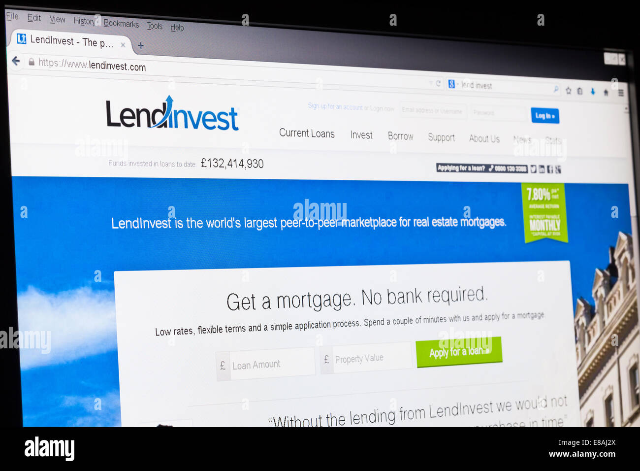 Screenshot of the lendinvest homepage - Stock Image