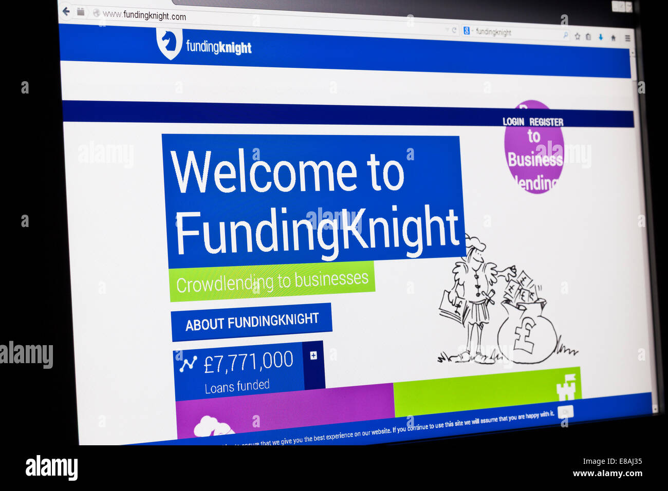 Screenshot of the funding knight homepage - Stock Image