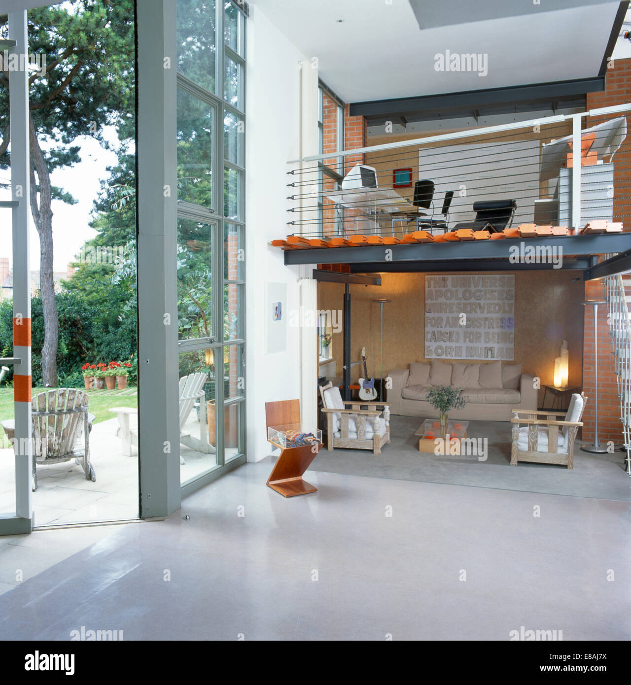 Home-office On Floor Above Living Room In Large Open-plan