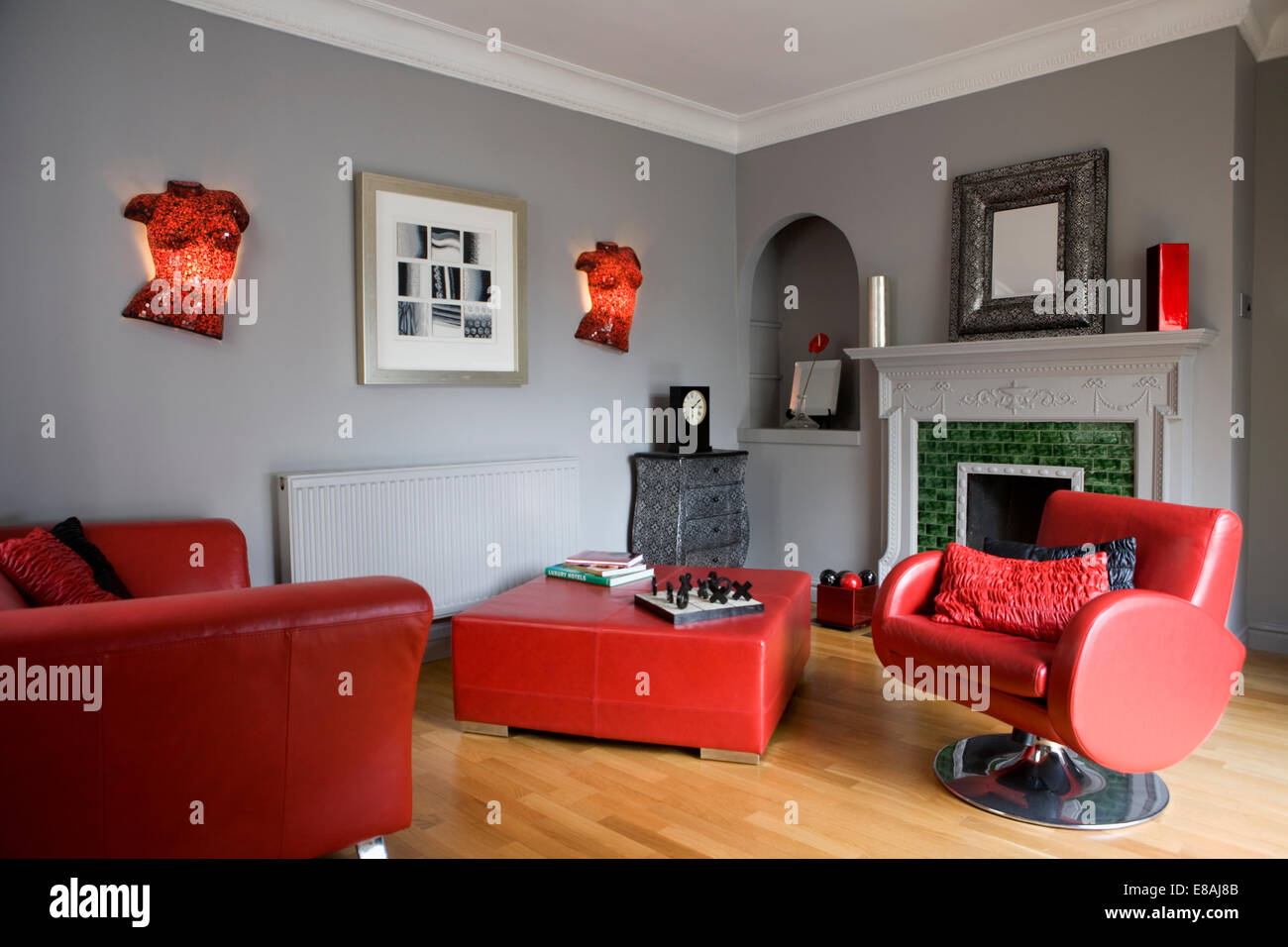 Red Leather Sofa And Swivel Armchair With Red Leather