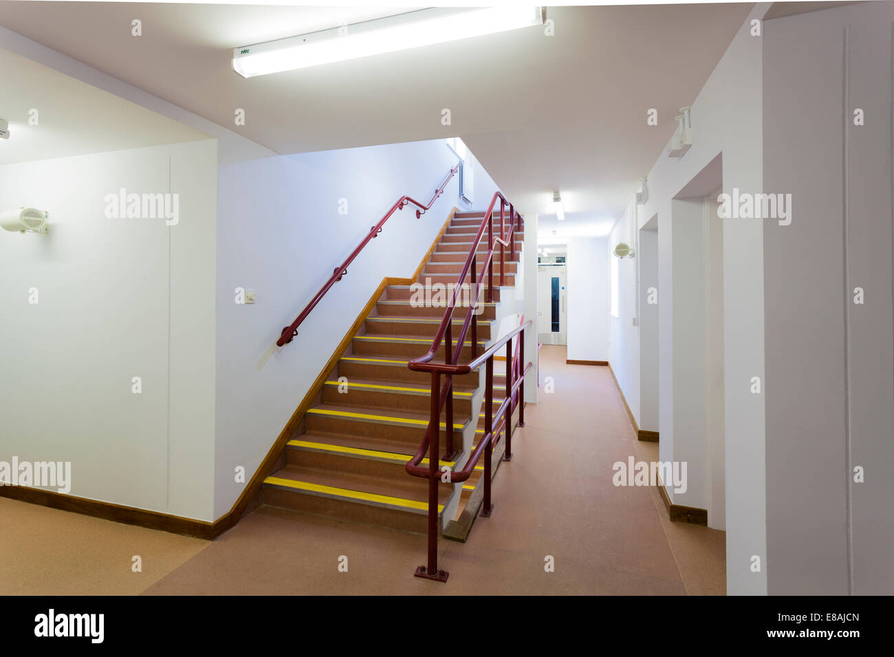 Staircase and corridor inside army barracks. - Stock Image