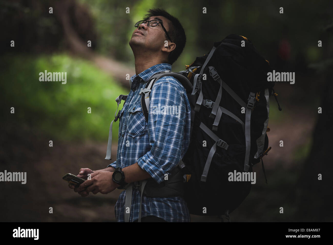 Hiker with backpack and smart phone, looking up - Stock Image