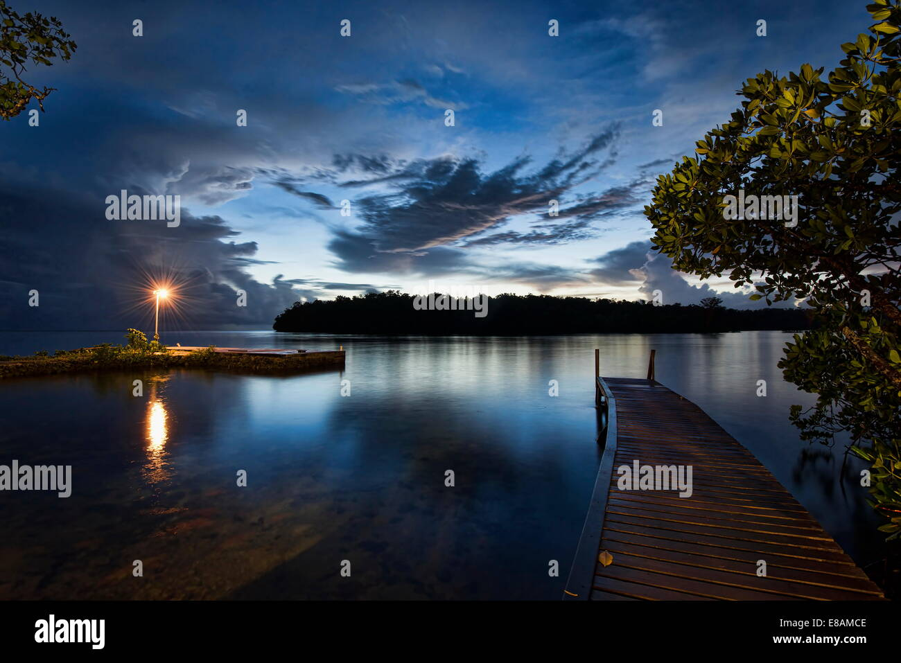 Jetty at dawn, Uepi Island, New Britain, Solomon Islands - Stock Image