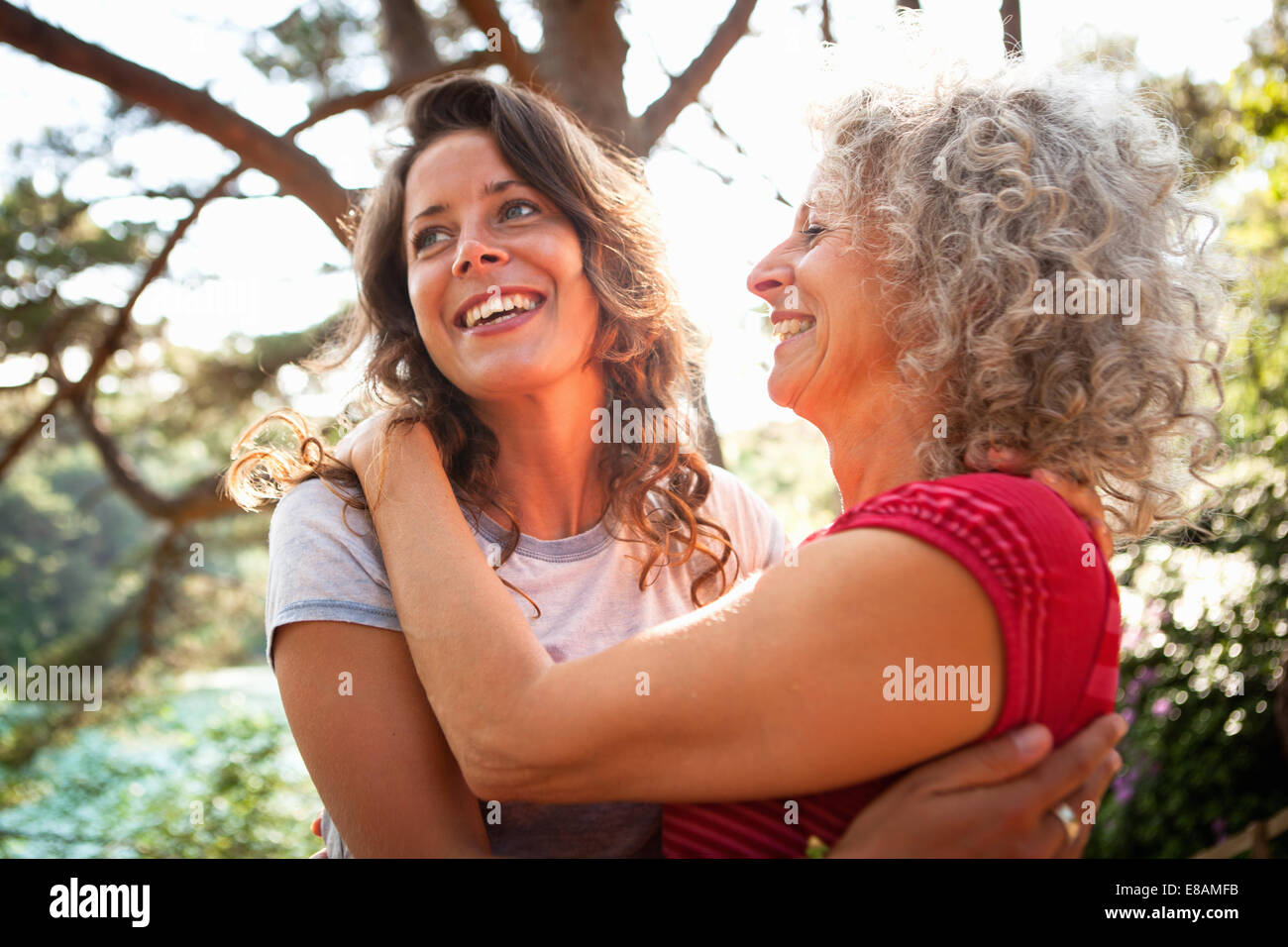 Mother and daughter enjoying nature - Stock Image