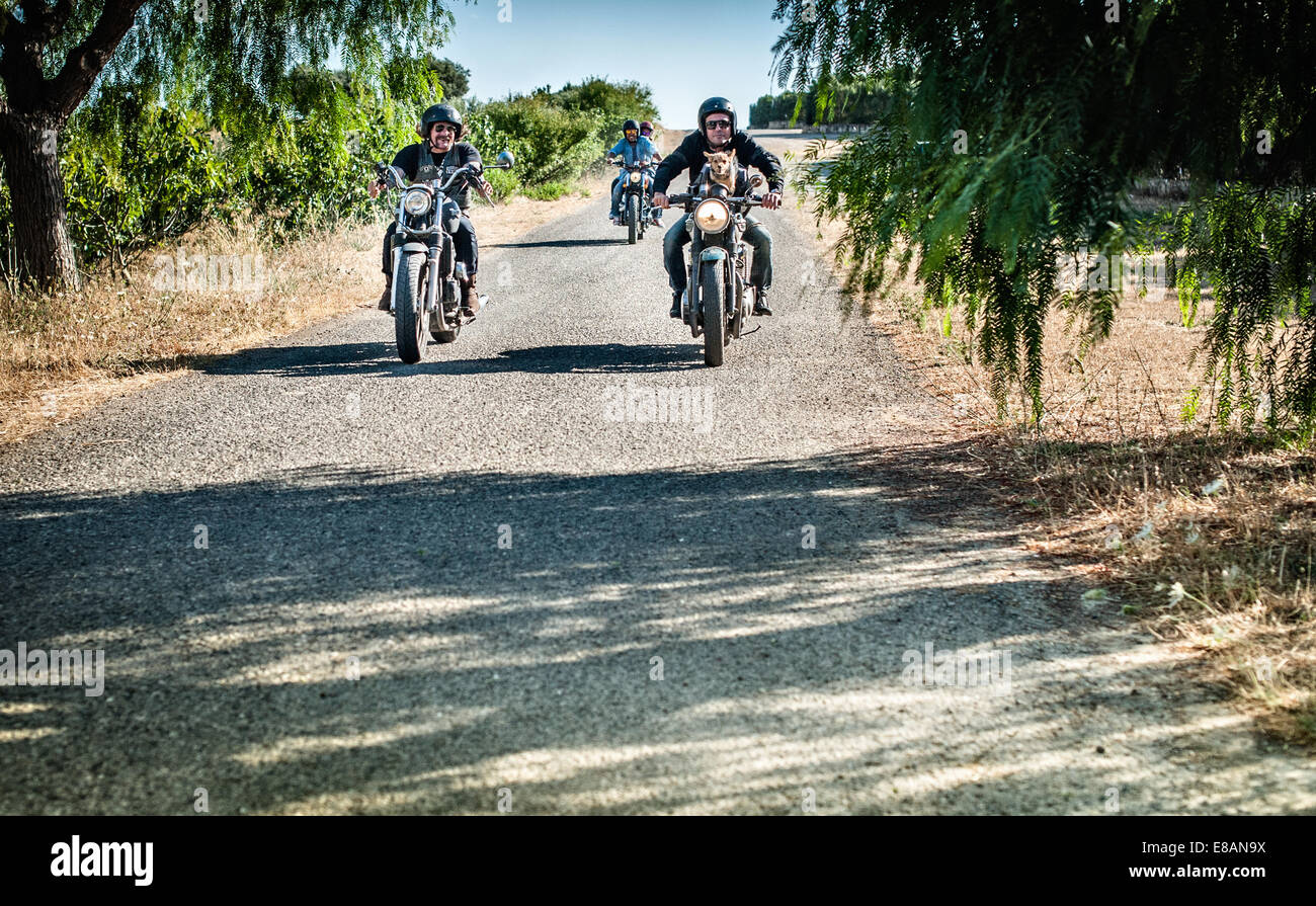 Four friends and one dog riding motorcycles on rural road, Cagliari, Sardinia, Italy - Stock Image