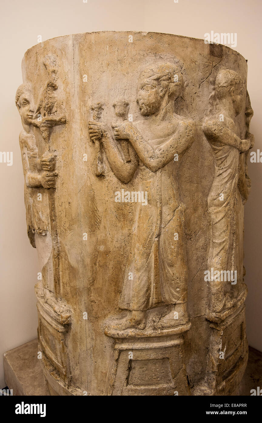Italy Piedmont Turin Egyptian Museum cast of the so called 'Concealed Pillar ' decorated with a procession - Stock Image