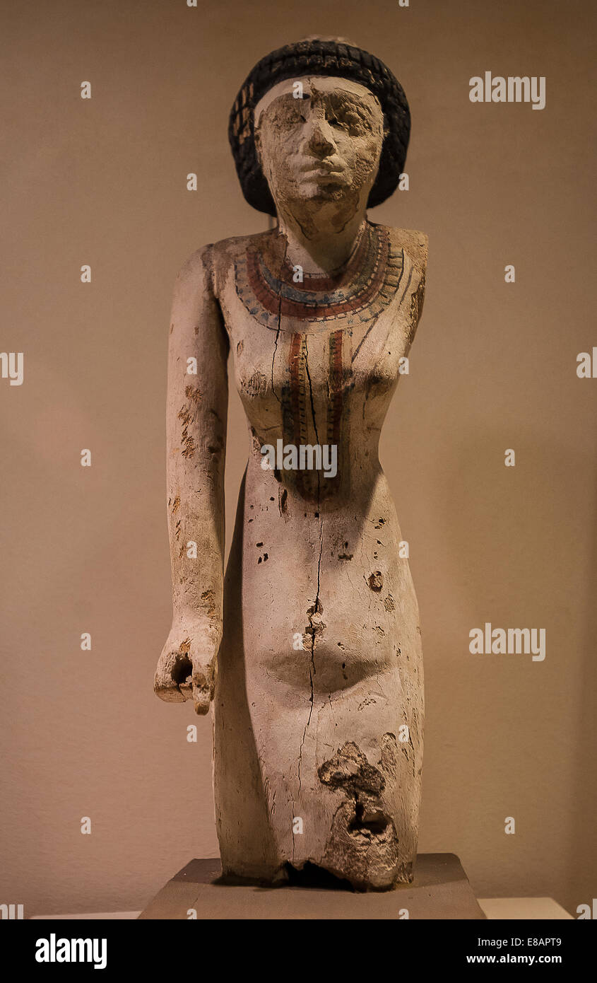 Italy Piedmont Turin Egyptian Museum room of predynastic period  Wodden Statuette of a  Female offering bearer - Stock Image