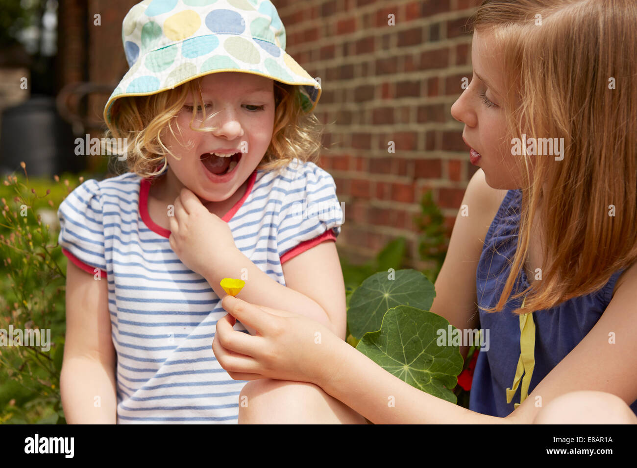 Two sisters in garden with buttercup flower Stock Photo
