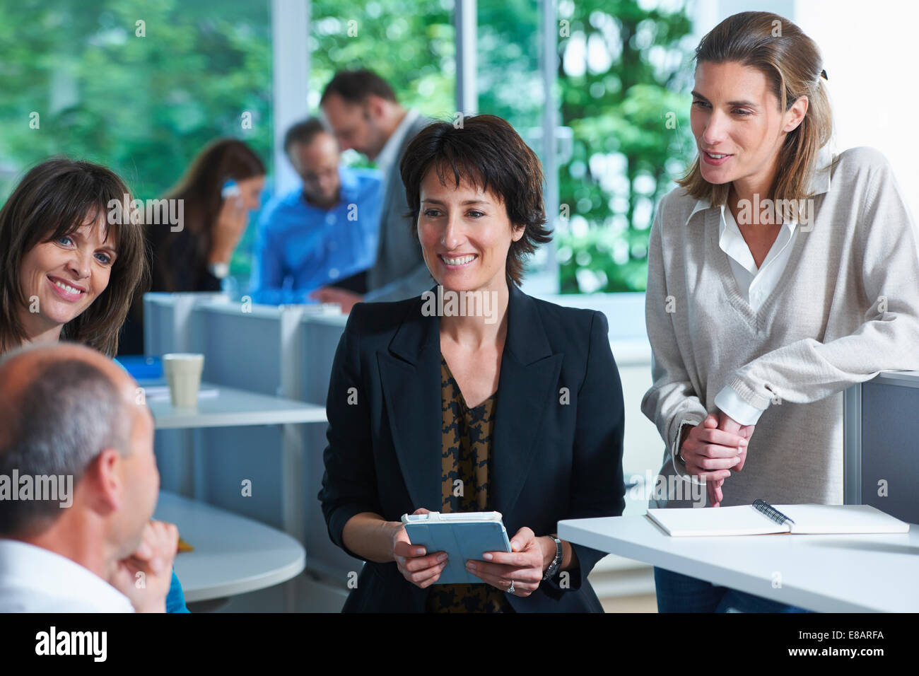 Business colleagues having informal meeting in office - Stock Image