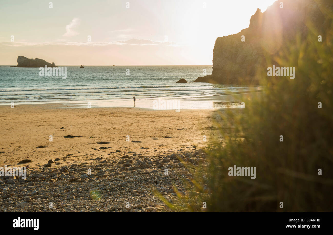 Distant view of male teenage surfer walking toward sea, Camaret-sur-mer, Brittany, France - Stock Image