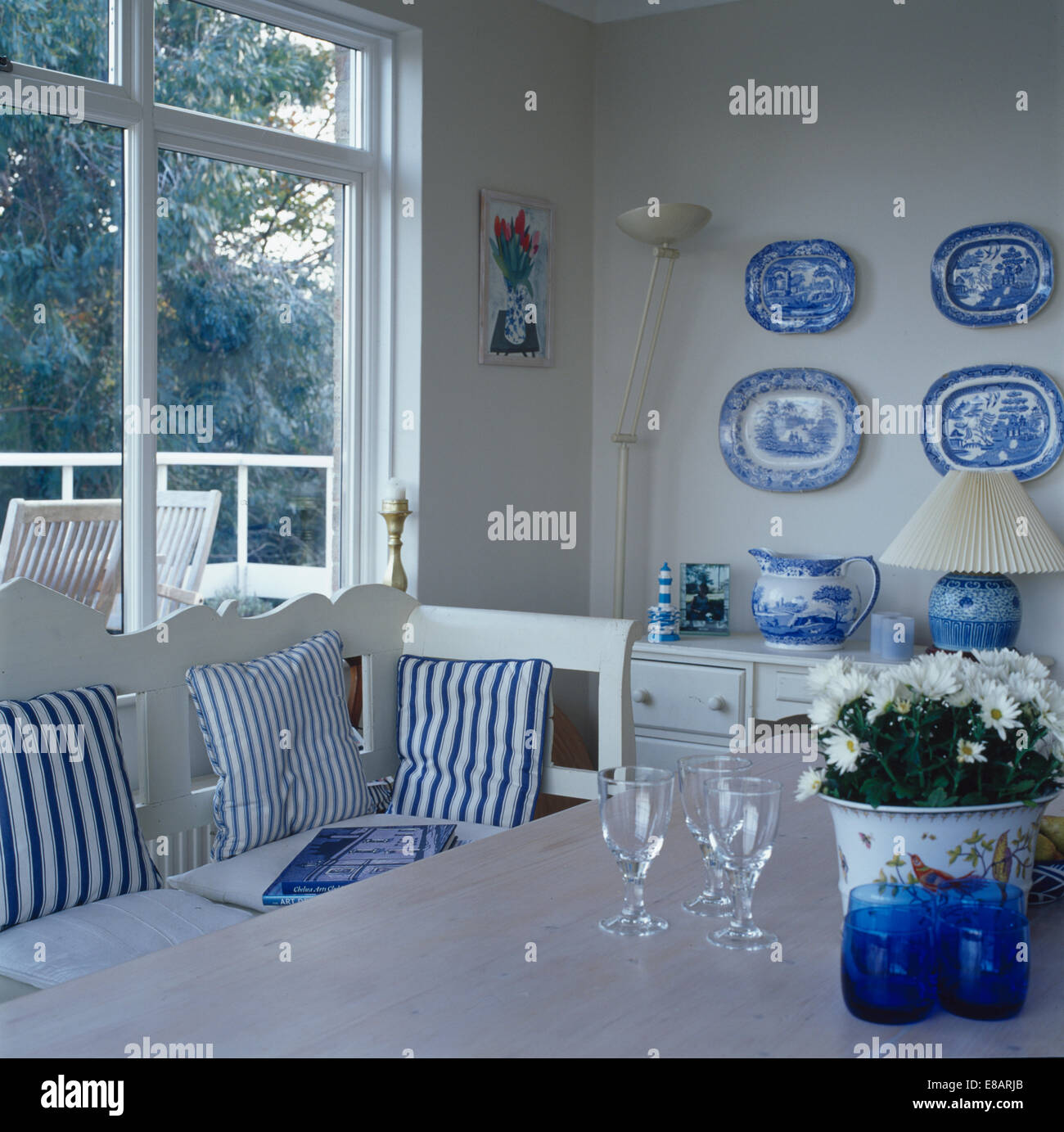 Collection Of Blue White Plates On Wall Of Dining Room With Blue Stock Photo Alamy