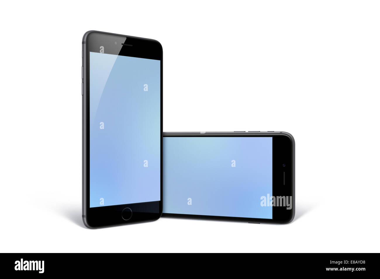 Digitally generated image of cell phones, iphone 6 space gray. - Stock Image