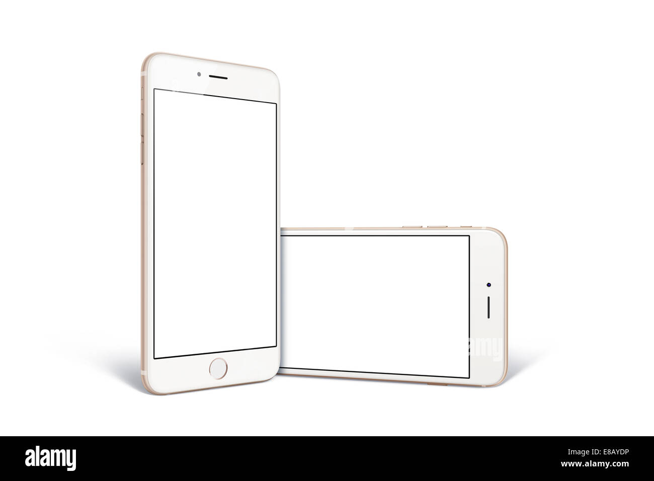 Digitally generated image of cell phones, new iphone 6, gold. - Stock Image