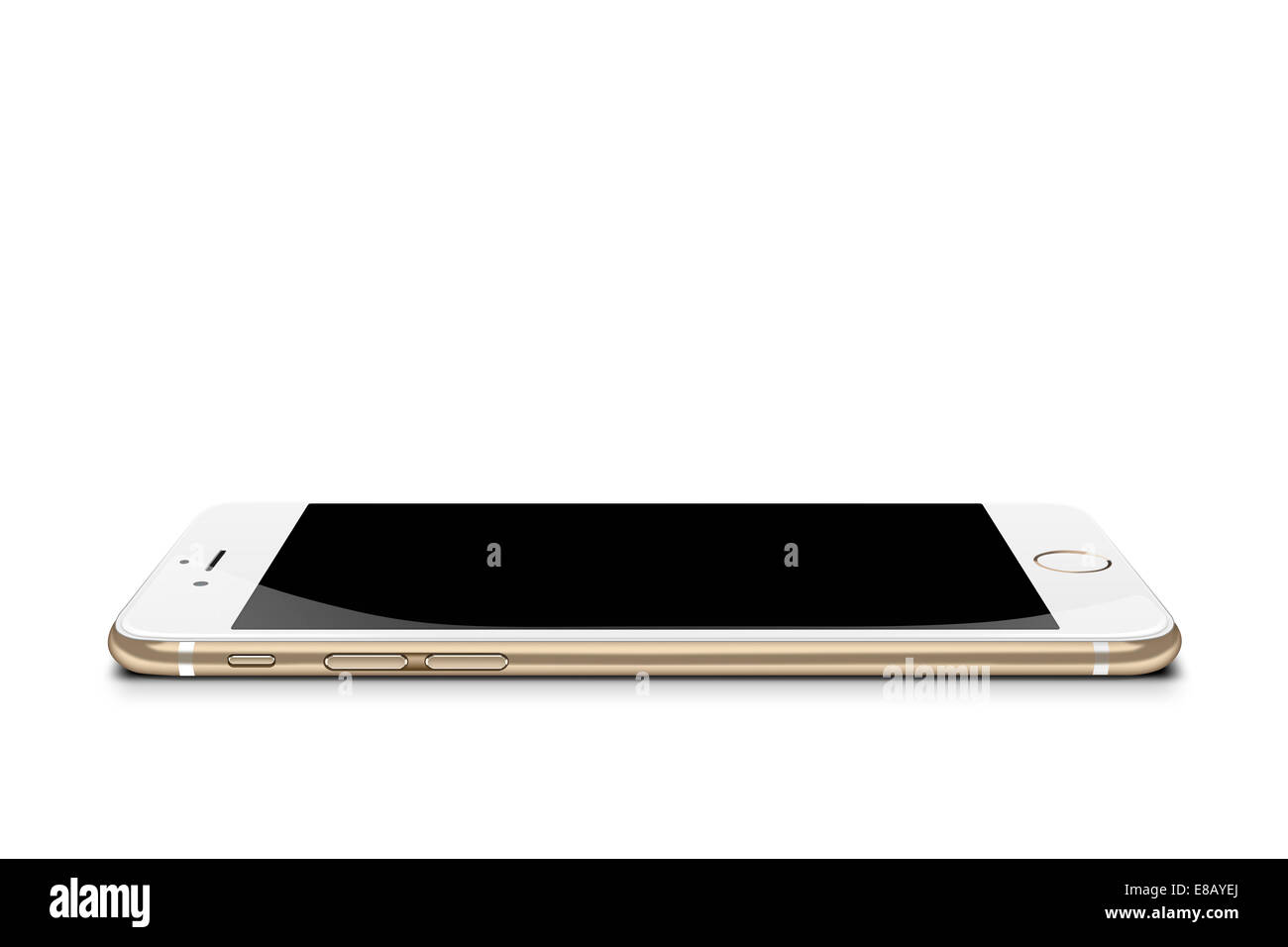 Smartphone iphone 6 gold, digitally generated artwork. - Stock Image