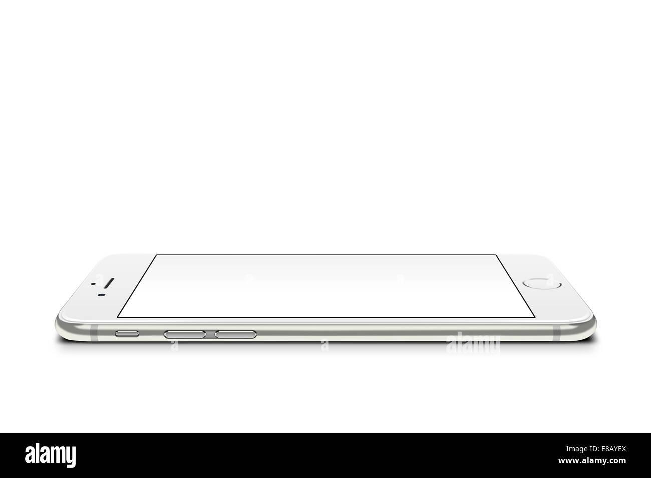 Smartphone iphone 6 silver, digitally generated artwork. - Stock Image