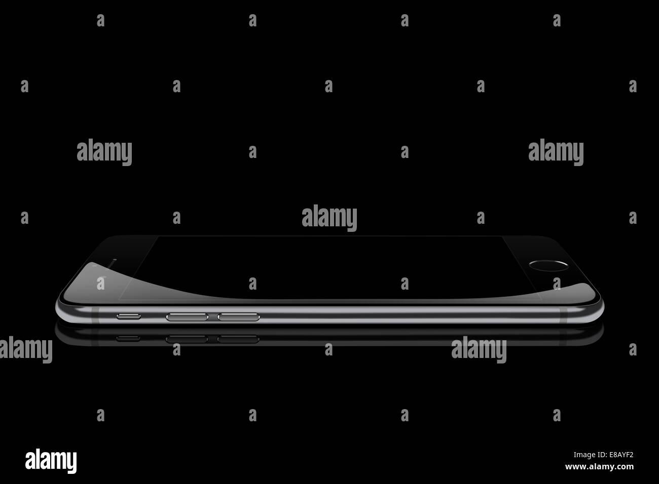 Smart phone iphone 6 space gray, digitally generated artwork. - Stock Image