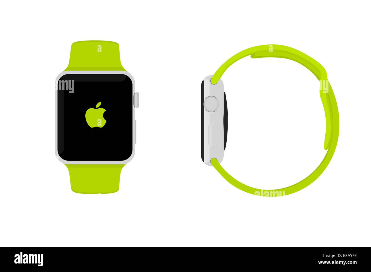 Illustration of Apple Watch sport, green. - Stock Image