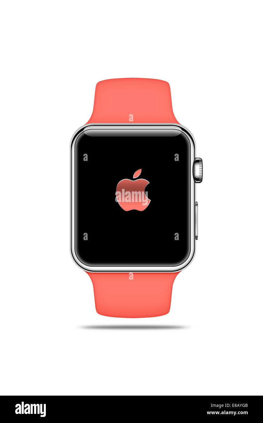 Apple Watch sport (pink) displaying logo, digitally generated artwork. - Stock Image