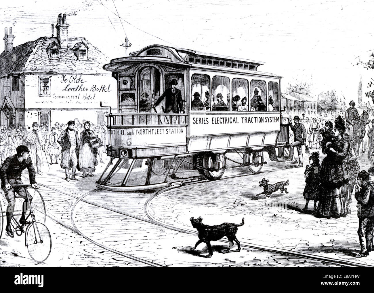 ELECTRIC TRAM at Northfleet, Kent, England in 1889 - the first in Europe - Stock Image