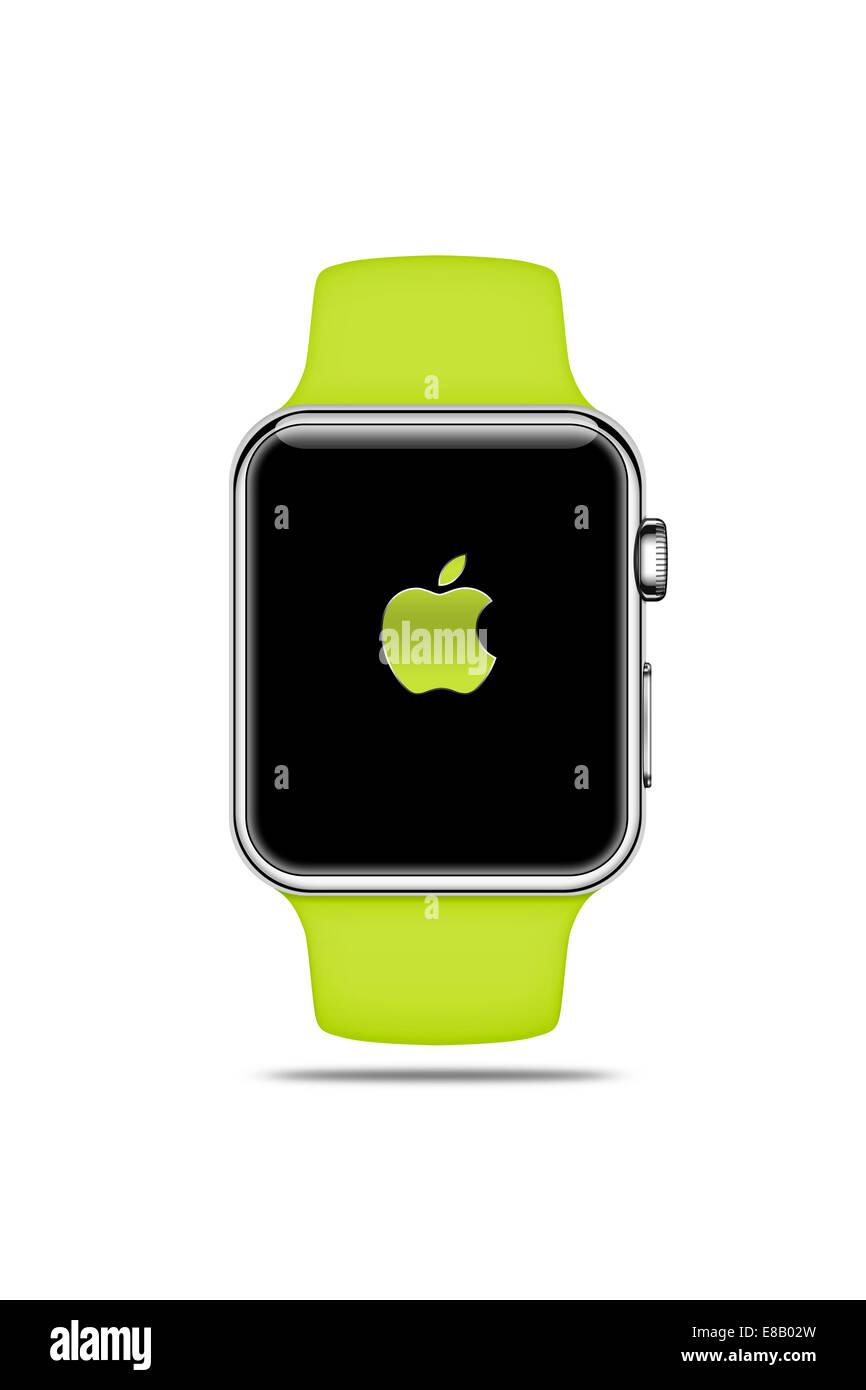 Apple Watch sport (green) displaying logo, digitally generated artwork. - Stock Image