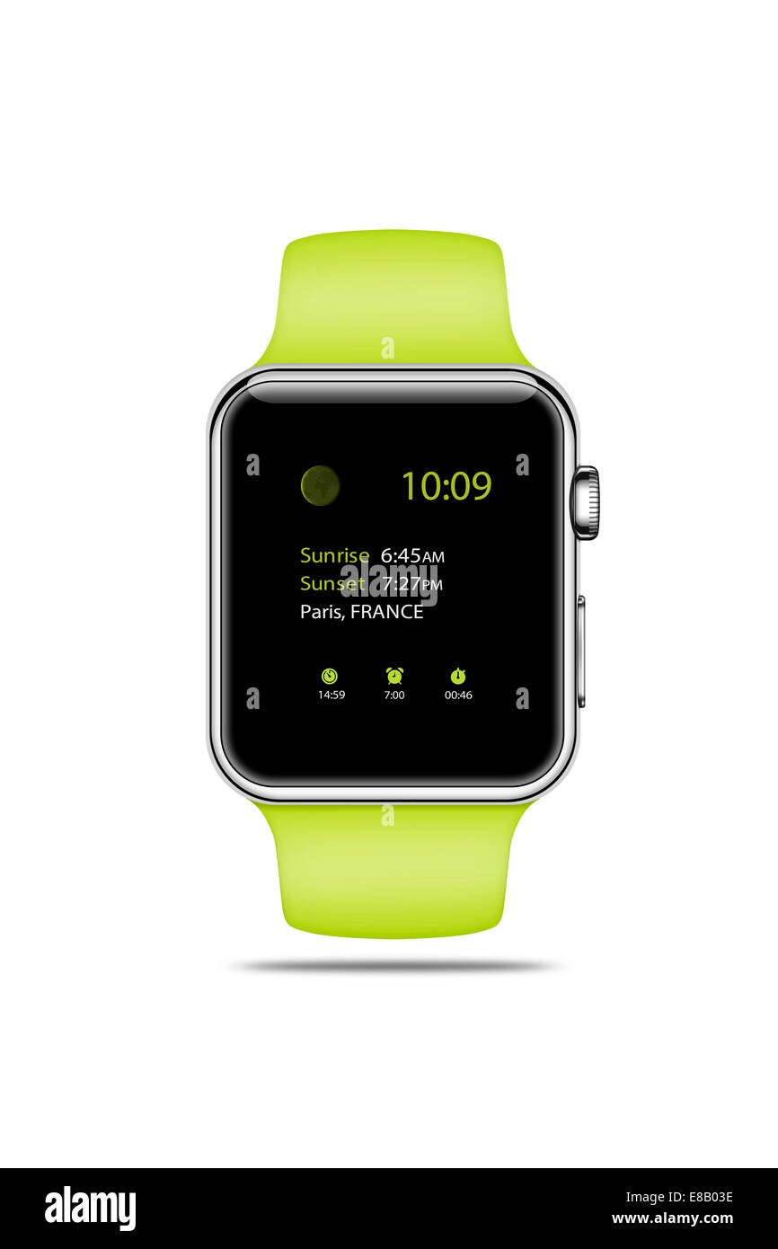 Apple Watch sport (green) displaying time, digitally generated artwork. - Stock Image