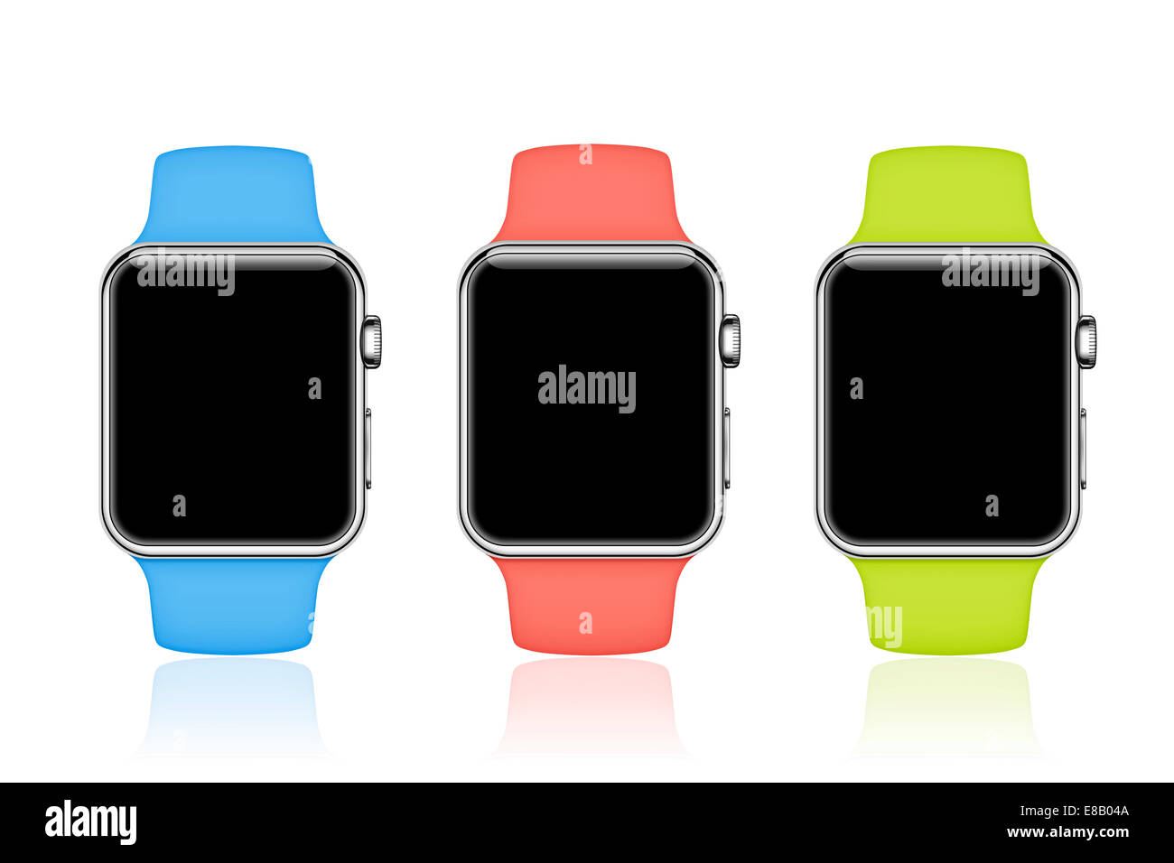 Apple Watch sport (blue, pink, green, blank screens) mobile device, digitally generated images. - Stock Image