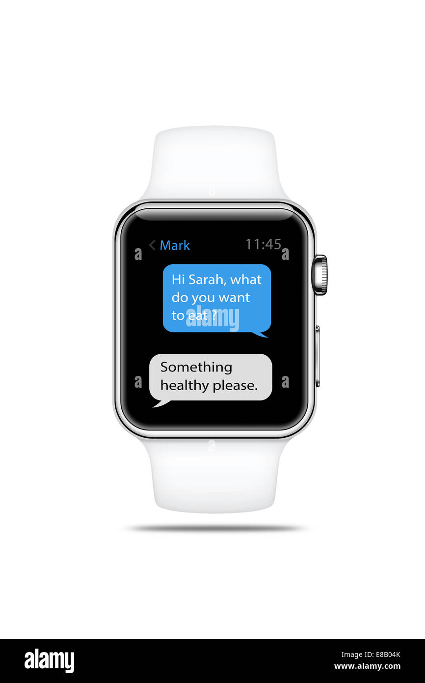 Apple watch sport white, displaying messages, digitally generated artwork. - Stock Image