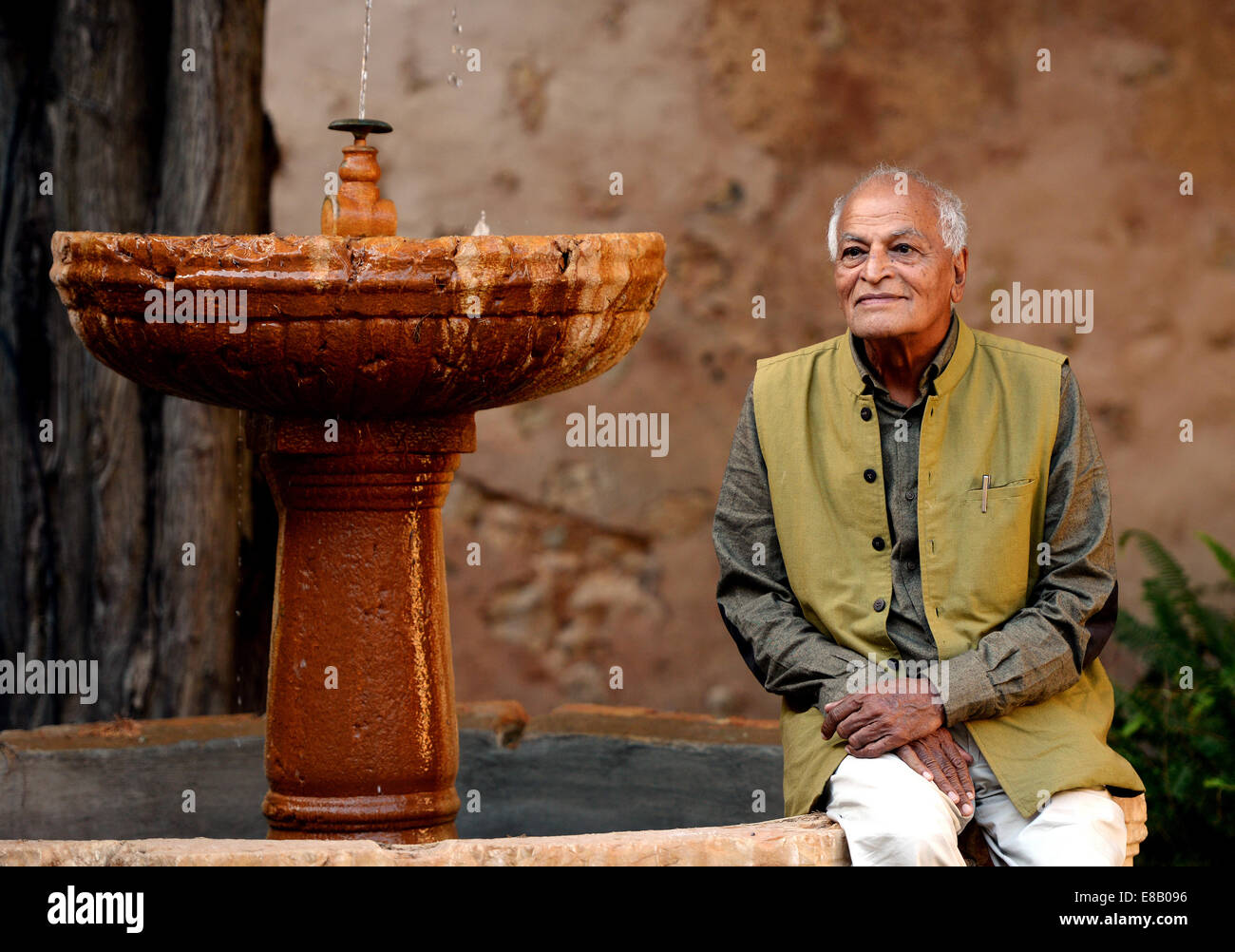 The Indian activist Satish Kumar gives a speech in Mallorca of the education of children and schools. - Stock Image