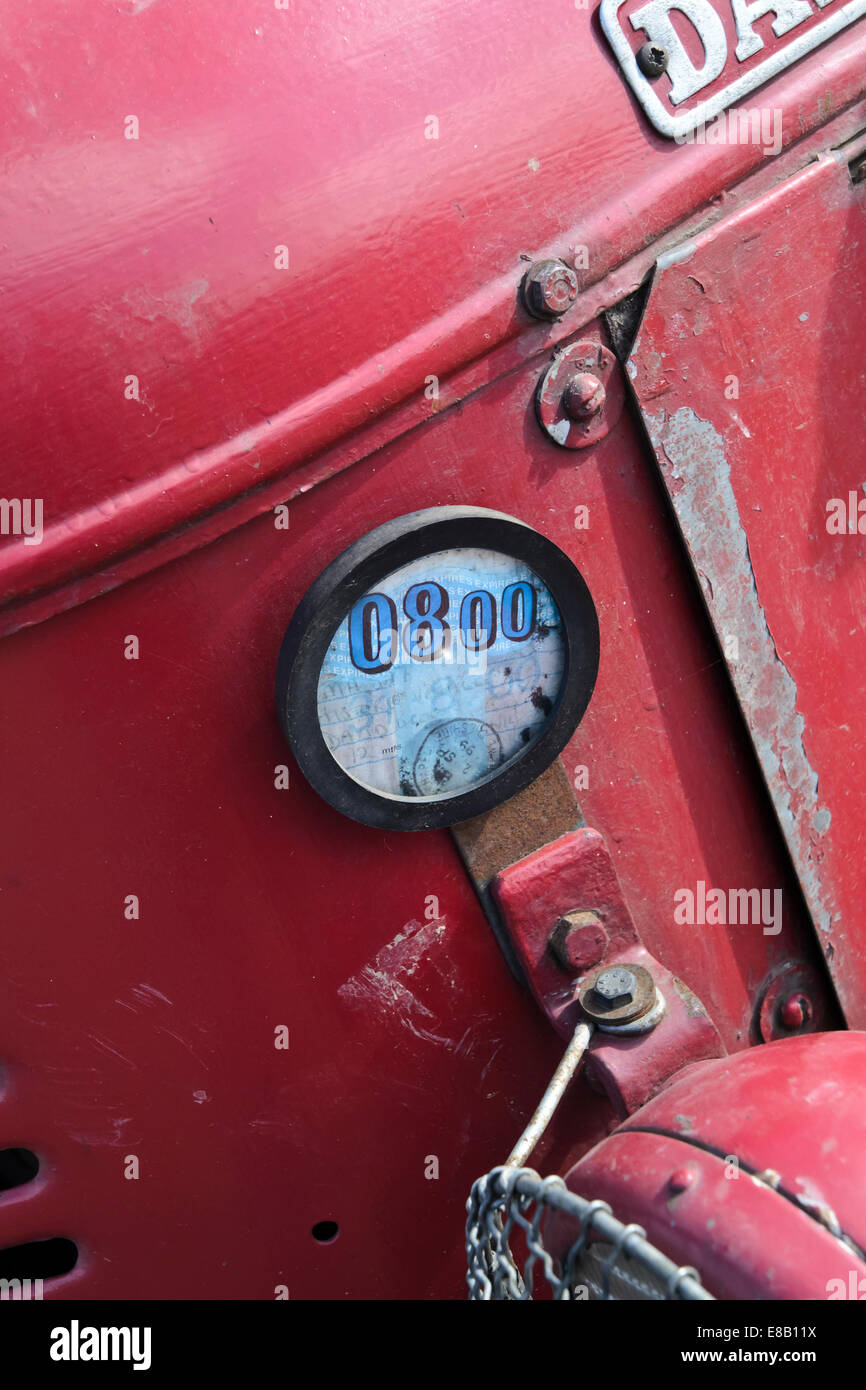 road tax disc on vintage tractor Stock Photo: 74001030 - Alamy