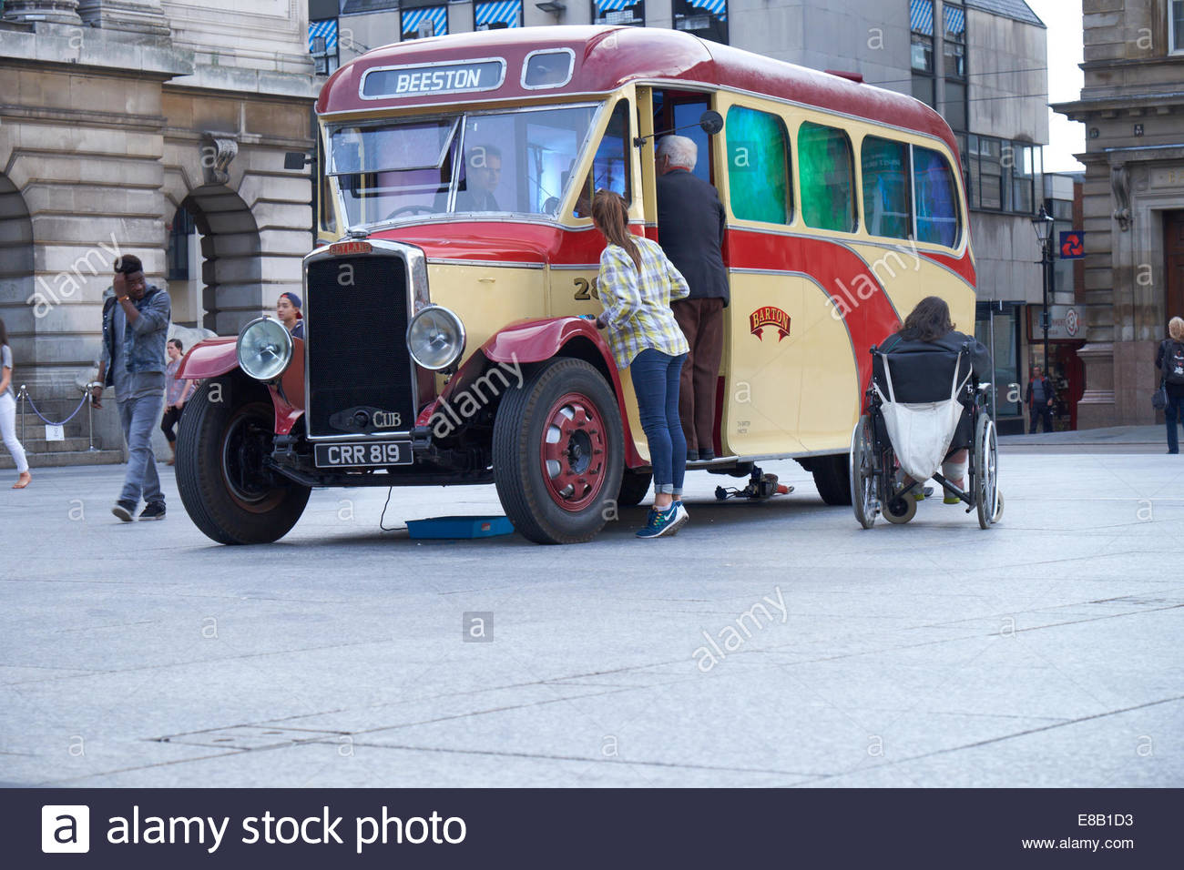 Nottingham, UK, 3 October 2014   Classic 1936 Leyland Cub coach converted into a light installation by artist, Raphael - Stock Image