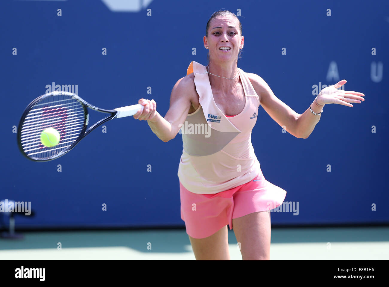 Flavia Pennetta (ITA) in action at the US Open 2014 Championships in New York, USA Stock Photo