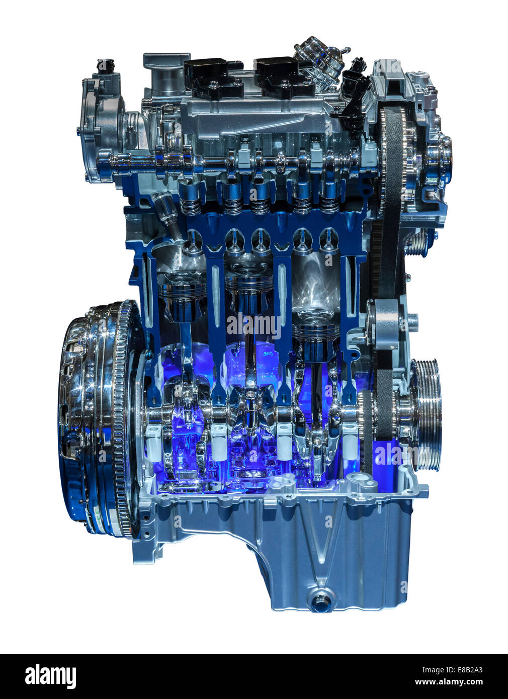 Modern three cylinder downsizing car engine cross section - Stock Image