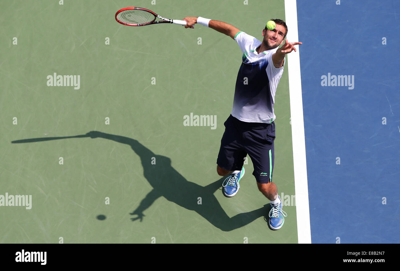 Marin Cilic (CRO) in action at the US Open 2014 Championships in New York, - Stock Image