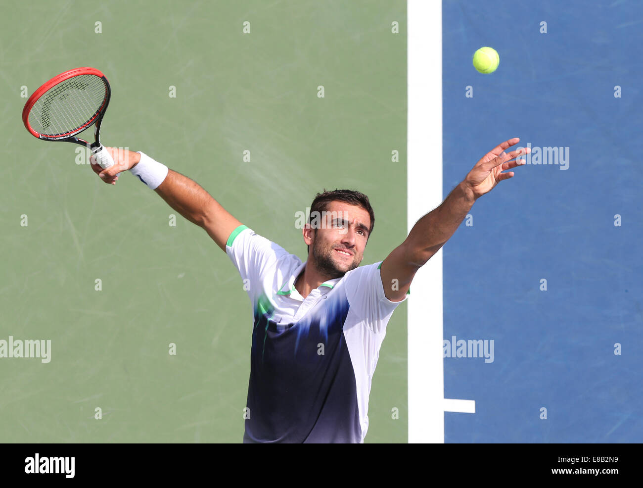 Marin Cilic (CRO) in action at the US Open 2014 Championships in New York,  Marin - Stock Image