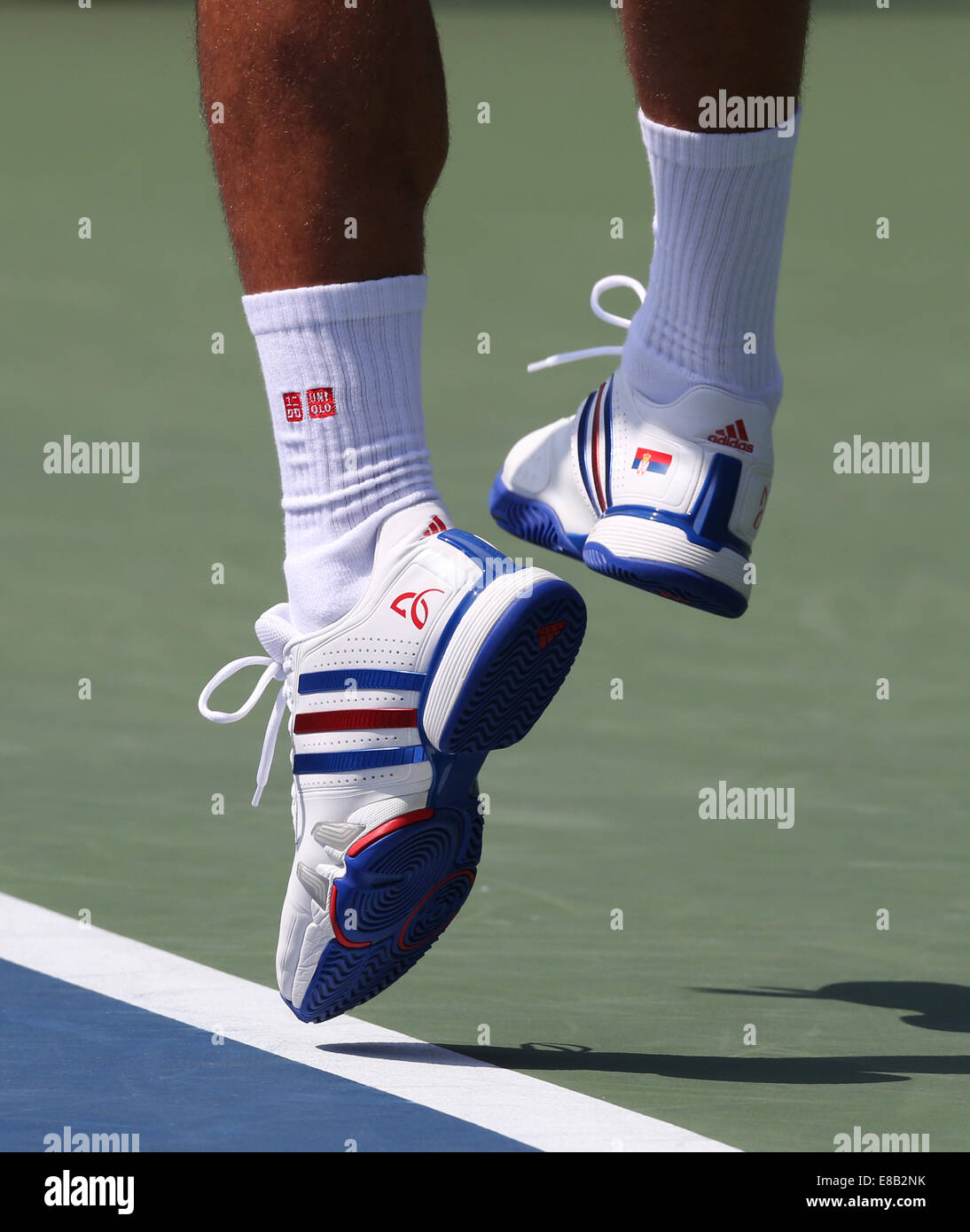 Feet of Novak Djokovic (SRB) in action at the US Open 2014 Championships in New York,USA. - Stock Image