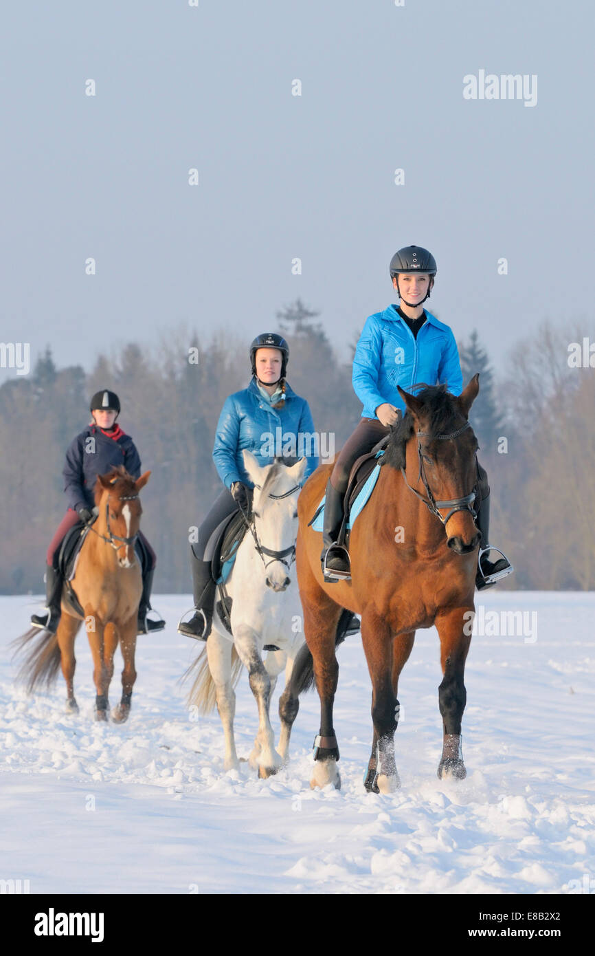 Three riders during a ride out in winter - Stock Image