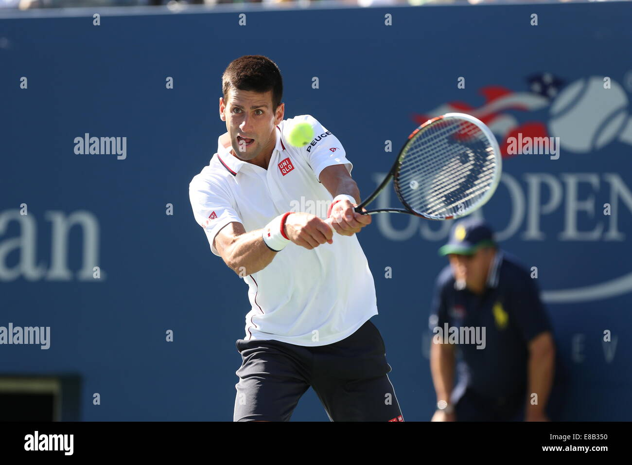 Novak Djokovic (SRB) in action at the US Open 2014 Championships in New York,USA. - Stock Image