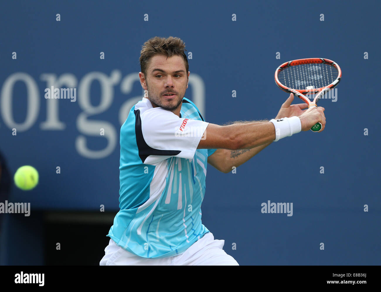 Stan Wawrinka (SUI) in action at the US Open 2014 Championships in New York,USA. - Stock Image