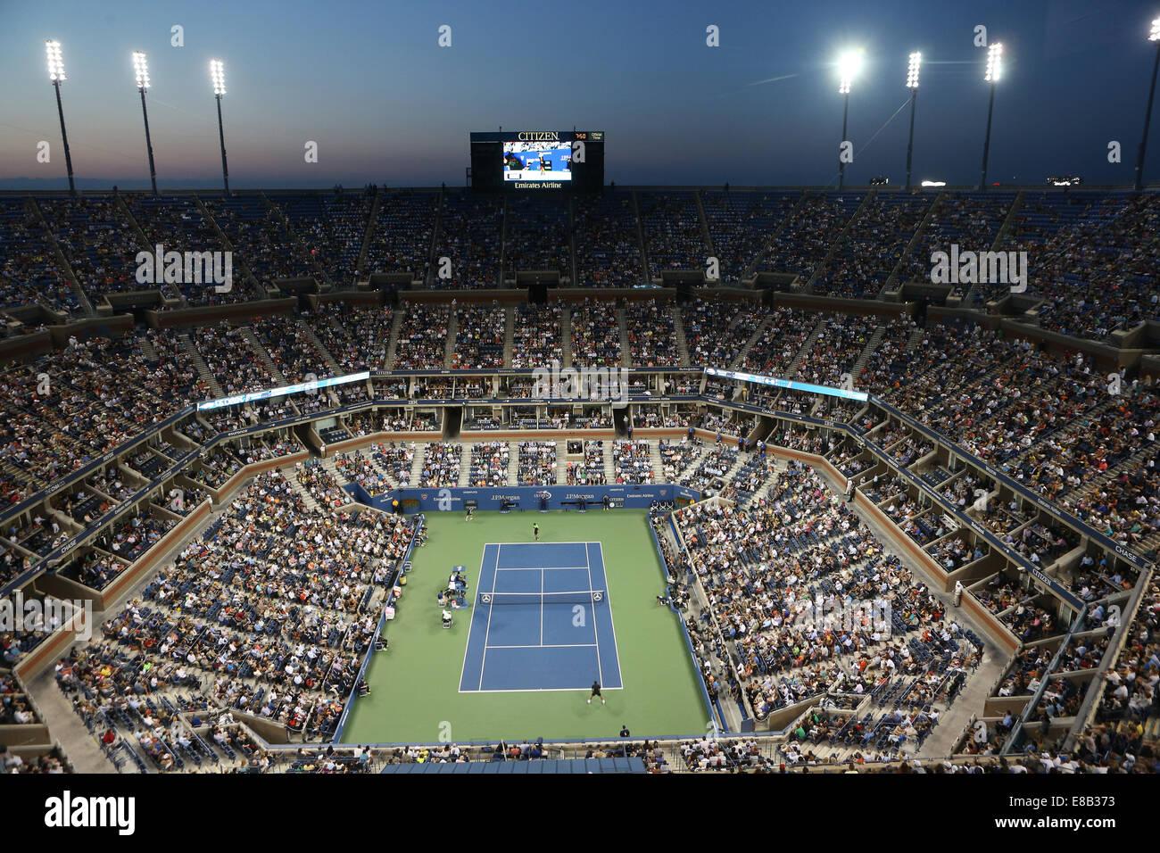 Arthur Ashe Stadium, Centre Court at night, US Open 2014, New York,USA - Stock Image