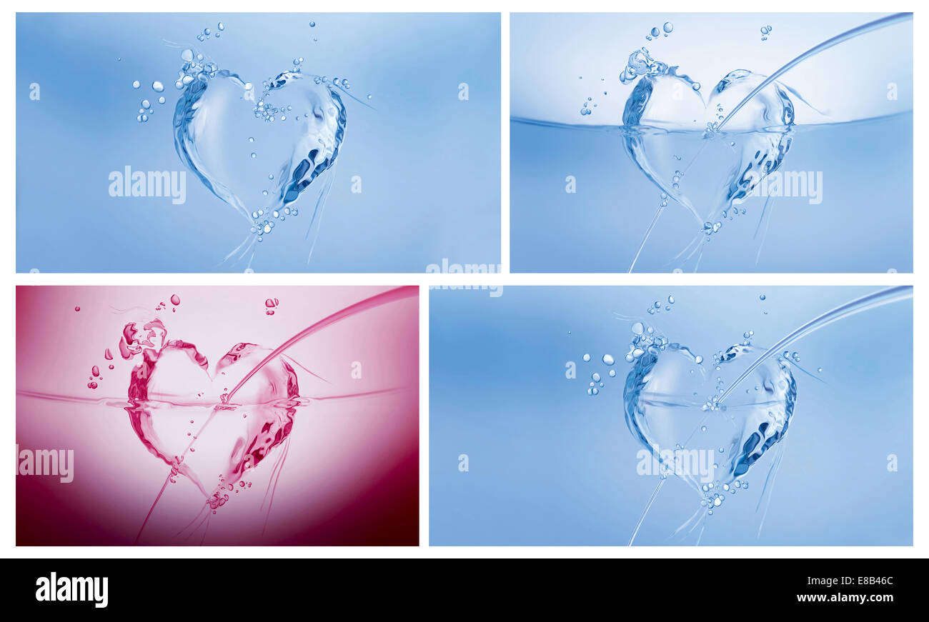 A collage of three blue hearts made of water and a dark pink one on white. - Stock Image